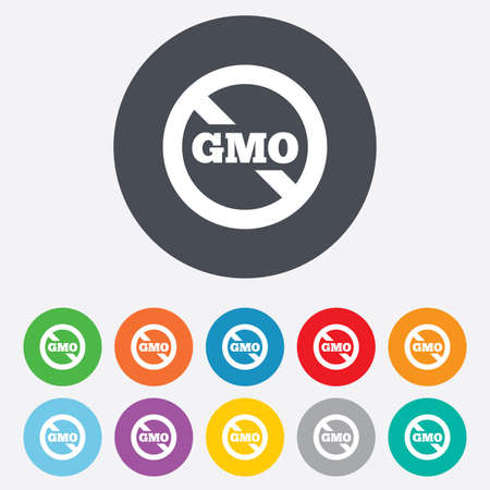 genetically: No GMO sign icon. Without Genetically modified food. Stop GMO. Round colourful 11 buttons. Vector Illustration