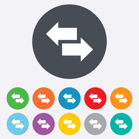 outgoing: Incoming and outgoing calls sign. Upload. Download arrow symbol. Round colourful 11 buttons. Vector Illustration