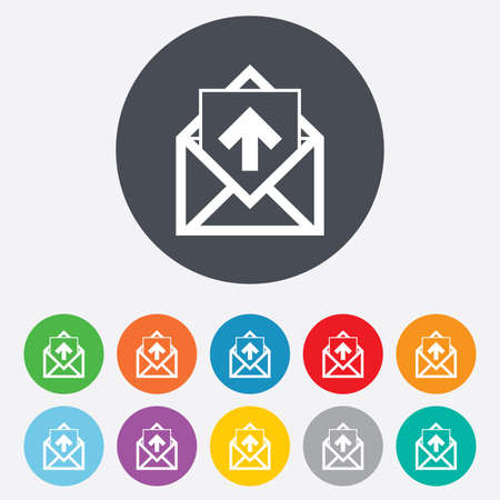 outgoing: Mail icon. Envelope symbol. Outgoing message sign. Mail navigation button. Round colourful 11 buttons. Vector