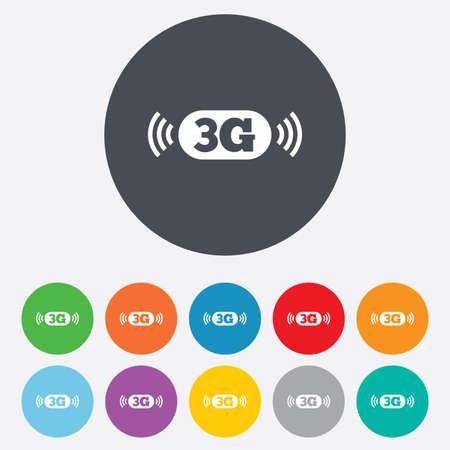 3g: Icono de se�al 3G. Telecomunicaciones m�vil s�mbolo tecnolog�a. Ronda de colores 11 botones. Vector Vectores