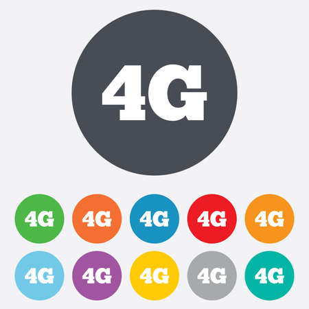 telecommunications technology: 4G sign icon. Mobile telecommunications technology symbol. Round colourful 11 buttons. Vector