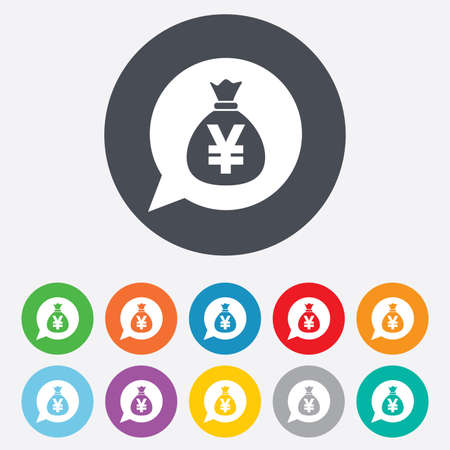 jpy: Money bag sign icon. Yen JPY currency speech bubble symbol. Round colourful 11 buttons. Vector Illustration