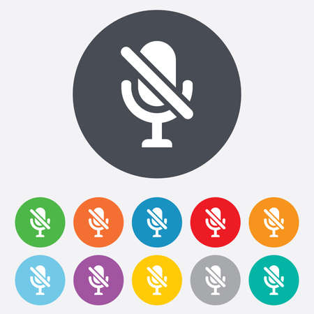 No Microphone sign icon. Speaker symbol. Round colourful 11 buttons. Vector Vector