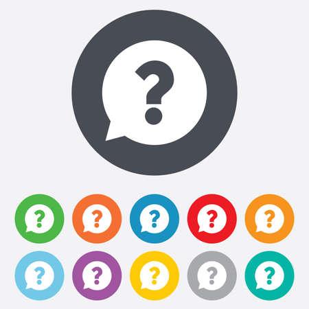 punto di domanda: Question mark sign icon. Aiuto discorso bolla simbolo. Segno FAQ. Rotondi colorati 11 pulsanti. Vettore