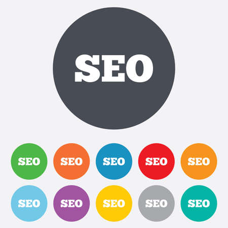 SEO sign icon. Search Engine Optimization symbol. Round colourful 11 buttons. Vector Vector