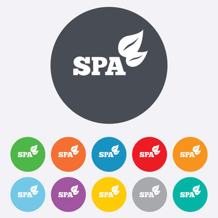 Spa sign icon. Spa leaves symbol. Round colourful 11 buttons. Vector Vector
