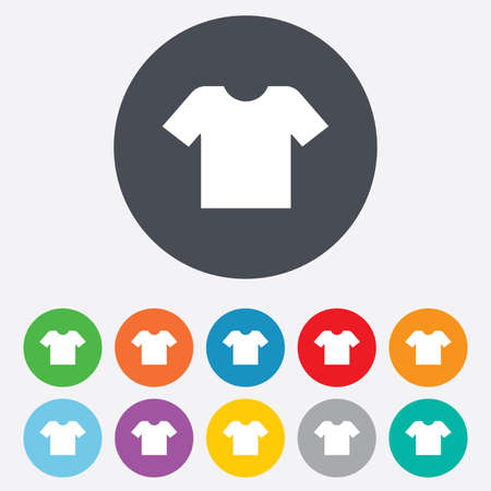 T-shirt sign icon. Clothes symbol. Round colourful 11 buttons. Vector Vector