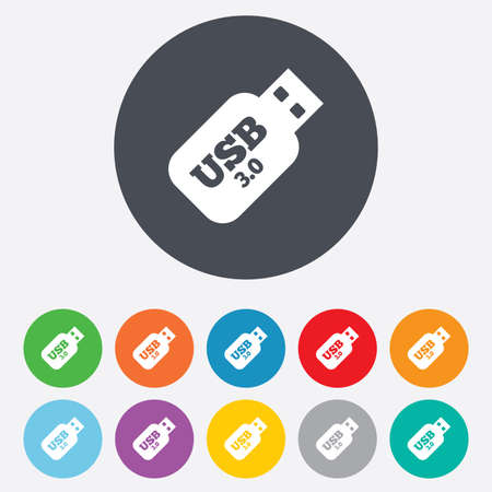 Usb 3.0 Stick sign icon. Usb flash drive button. Round colourful 11 buttons. Vector Vector