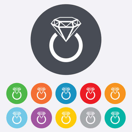 Jewelry sign icon. Ring with diamond symbol. Round colourful 11 buttons. Vector Vector