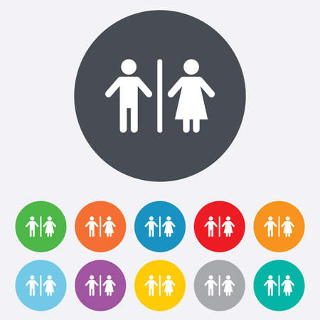 WC sign icon. Toilet symbol. Male and Female toilet. Round colourful 11 buttons. Vector Vector