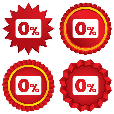 Zero percent sign icon. Zero credit symbol. Best offer. Red stars stickers. Certificate emblem labels. photo