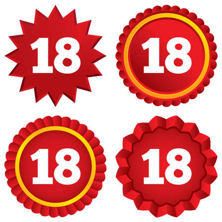 happy birthday 18: 18 years old sign. Adult label symbol. Red stars stickers. Certificate emblem labels.