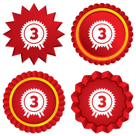 Third place award sign icon. Prize for winner symbol. Red stars stickers. Certificate emblem labels. photo