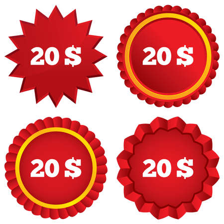 usd: 20 Dollars sign icon. USD currency symbol. Money label. Red stars stickers. Certificate emblem labels. Stock Photo