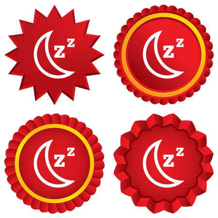 standby: Sleep sign icon. Moon with zzz button. Standby. Red stars stickers. Certificate emblem labels. Stock Photo