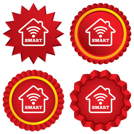 Smart home sign icon. Smart house button. Remote control. Red stars stickers. Certificate emblem labels. photo