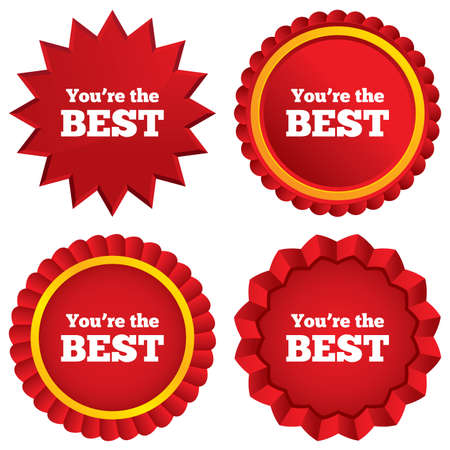 You are the best icon. Customer award symbol. Best buyer. Red stars stickers. Certificate emblem labels. photo