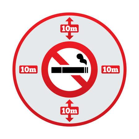 No smoking 10m distance sign. No smoking around public places symbol. 10 meters away from the building.  illustration. illustration