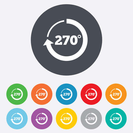 seventy two: Angle 270 degrees sign icon. Geometry math symbol. Round colourful 11 buttons.