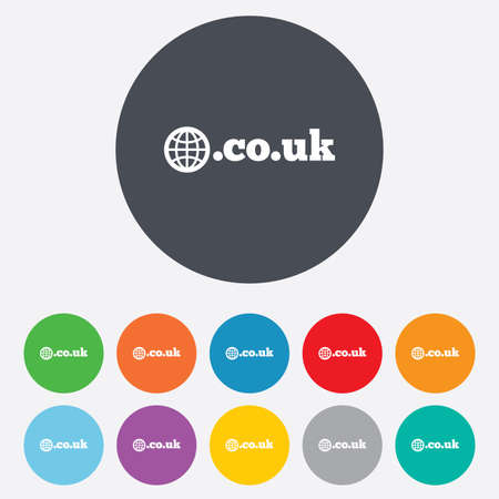 subdomain: Domain CO.UK sign icon. UK internet subdomain symbol with globe. Round colourful 11 buttons.