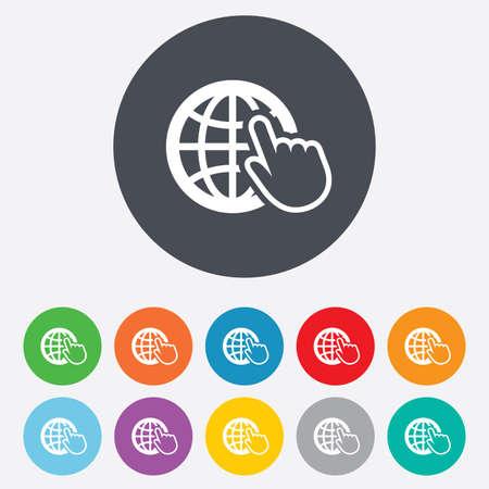 インターネット記号アイコン。ワールド ・ ワイド ・ ウェブのシンボル。カーソルのポインター。丸いカラフルな 11 のボタン。 写真素材