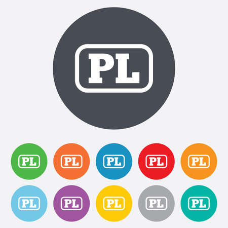 pl: Polish language sign icon. PL translation symbol with frame. Round colourful 11 buttons.
