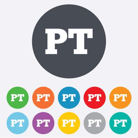 Portuguese language sign icon. PT Portugal translation symbol. Round colourful 11 buttons. photo