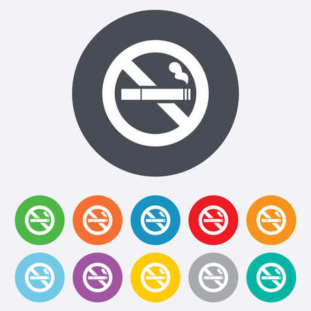 No Smoking sign icon. Cigarette symbol. Round colourful 11 buttons. photo