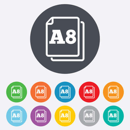 a8: Paper size A8 standard icon. File document symbol. Round colourful 11 buttons.