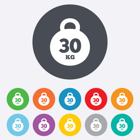 kg: Weight sign icon. 30 kilogram (kg). Sport symbol. Fitness. Round colourful 11 buttons.