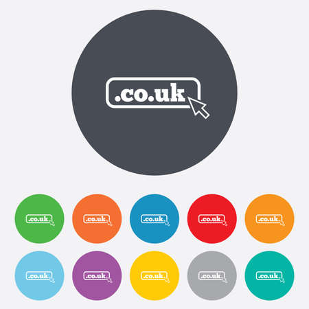 subdomain: Domain CO.UK sign icon. UK internet subdomain symbol with cursor pointer. Round colourful 11 buttons.