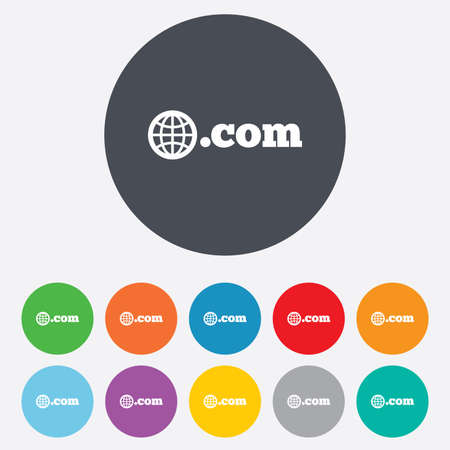 Domain COM sign icon. Top-level internet domain symbol with globe. Round colourful 11 buttons.