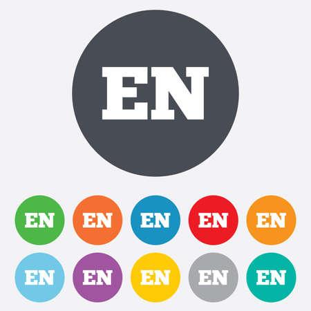 en: English language sign icon. EN translation symbol. Round colourful 11 buttons. Stock Photo
