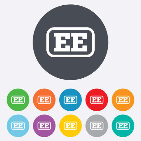 ee: Estonian language sign icon. EE translation symbol with frame. Round colourful 11 buttons.