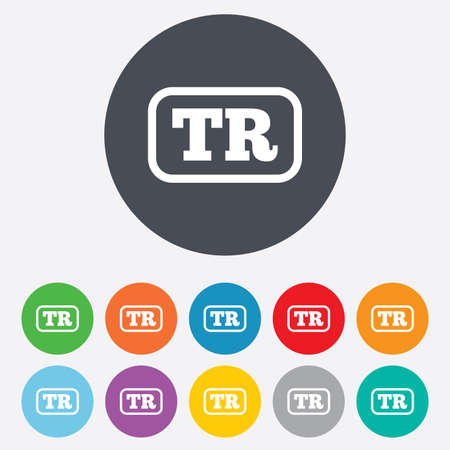 tr: Turkish language sign icon. TR Turkey Portugal translation symbol with frame. Round colourful 11 buttons. Stock Photo