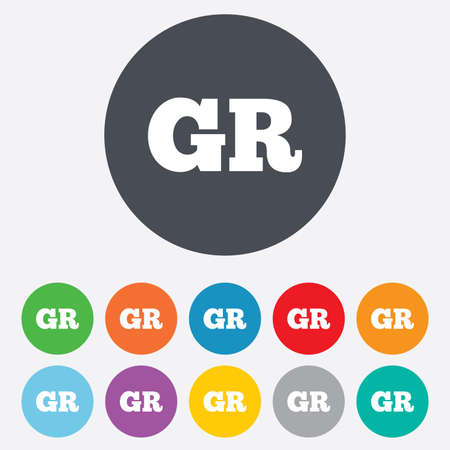 gr: Greek language sign icon. GR Greece translation symbol. Round colourful 11 buttons.