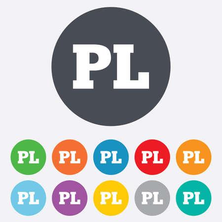 pl: Polish language sign icon. PL translation symbol. Round colourful 11 buttons. Stock Photo