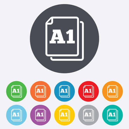 a1: Paper size A1 standard icon. File document symbol. Round colourful 11 buttons. Stock Photo