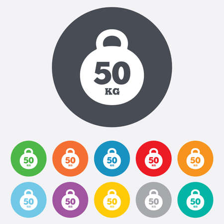 kg: Weight sign icon. 50 kilogram (kg). Sport symbol. Fitness. Round colourful 11 buttons.