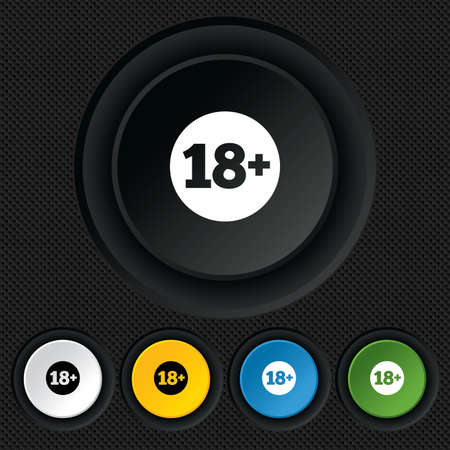 18 plus years old sign. Adults content icon. Round colourful buttons on black texture. Vector Vector