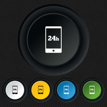 24 hours call center icon. Service and support for customers sign. Round colourful buttons on black texture. Vector Vector