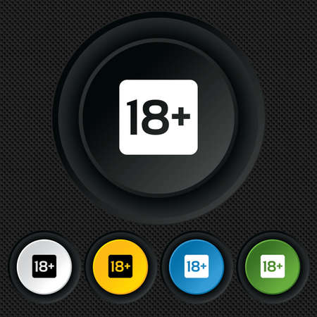 18 years old sign. Adults content only icon. Round colourful buttons on black texture. Vector Vector