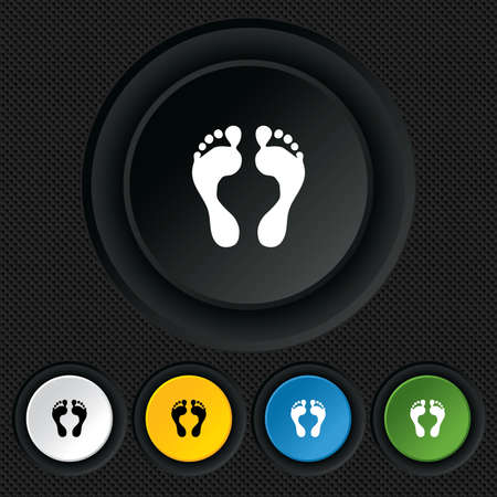 Human footprint sign icon. Barefoot symbol. Foot silhouette. Round colourful buttons on black texture. Vector Vector