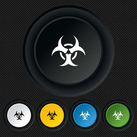 Biohazard sign icon. Danger symbol. Round colourful buttons on black texture. Vector Vector