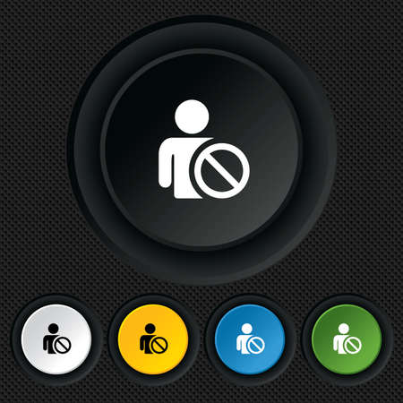 blacklist: Blacklist sign icon. User not allowed symbol. Round colourful buttons on black texture. Vector