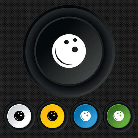 Bowling ball sign icon. Bowl symbol. Round colourful buttons on black texture. Vector Vector