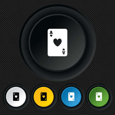 Casino sign icon. Playing card symbol. Ace of hearts. Round colourful buttons on black texture. Vector Vector