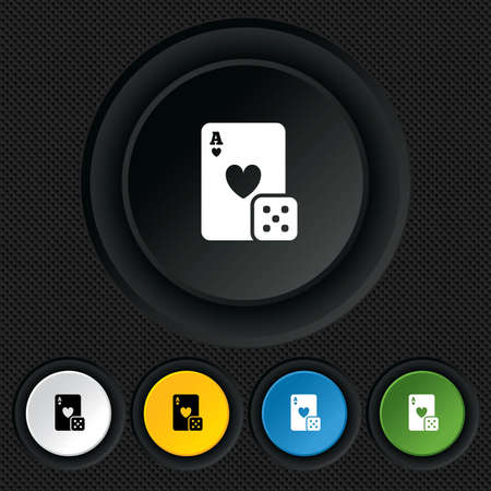 Casino sign icon. Playing card with dice symbol. Round colourful buttons on black texture. Vector Vector