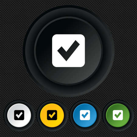 Check mark sign icon. Checkbox button. Round colourful buttons on black texture. Vector Vector