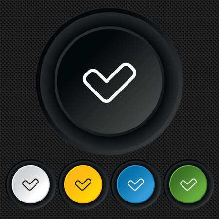 Check sign icon. Yes button. Round colourful buttons on black texture. Vector Vector